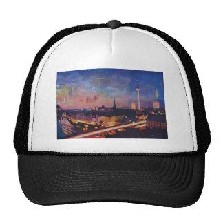 Illuminated Berlin Skyline at Dusk Trucker Hat