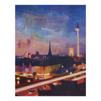 Illuminated Berlin Skyline at Dusk Letterhead