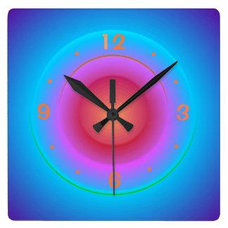 Illuminated Blue Aqua Orange Pink Rings>Wallclock Square Wall Clock