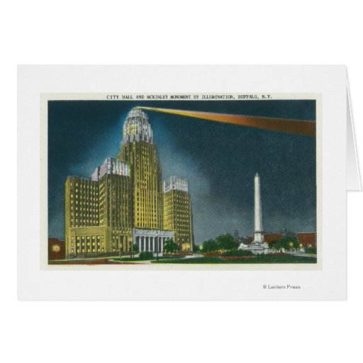 Illuminated City Hall View Card