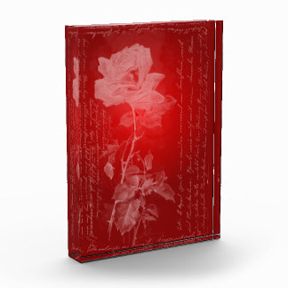 Illuminated Etched-Look Rose on Red Valentine Award