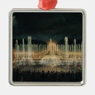 Illuminated Fountain Display Metal Ornament
