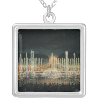 Illuminated Fountain Display Silver Plated Necklace