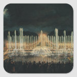 Illuminated Fountain Display Square Stickers