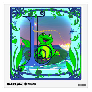 Illuminated Initial I with Cute Frog Wall Decal