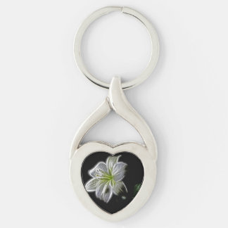Illuminated like Outline of a White lily Flower Keychain