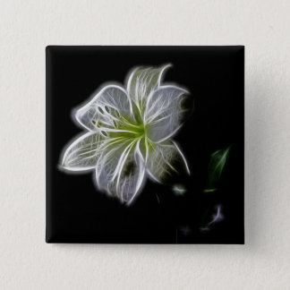 Illuminated like Outline of a White lily Flower Pinback Button
