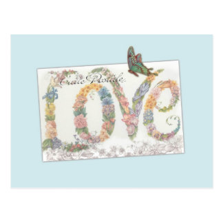 Illuminated LOVE, botanical custom greeting Postcard