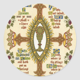 Illuminated Manuscript for Easter. Classic Round Sticker