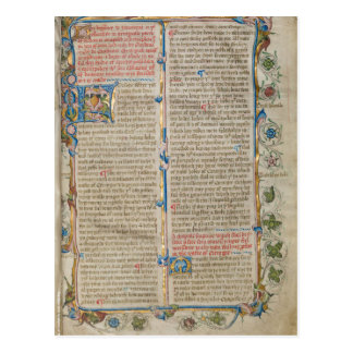 Illuminated manuscript page postcard