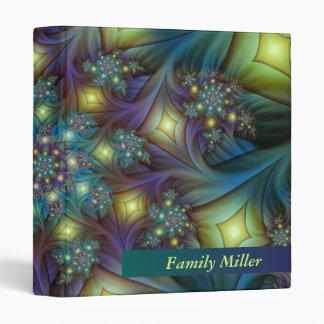 Illuminated modern blue purple Fractal Pattern Binder