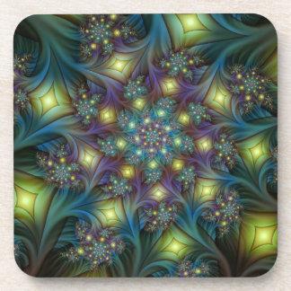 Illuminated modern blue purple Fractal Pattern Drink Coaster