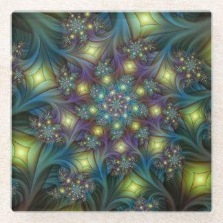 Illuminated modern blue purple Fractal Pattern Glass Coaster