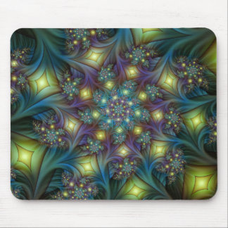 Illuminated modern blue purple Fractal Pattern Mouse Pad