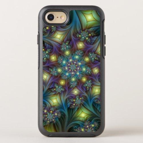 Illuminated modern blue purple Fractal Pattern Phone Case