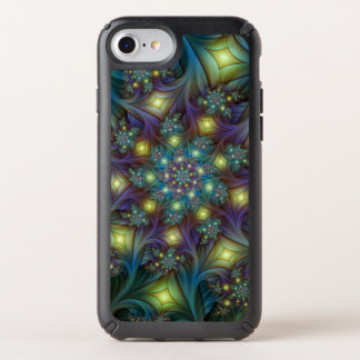 Illuminated modern blue purple Fractal Pattern Speck iPhone Case