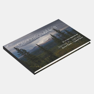 Illuminated Mountains Photograph Memorial Guest Book