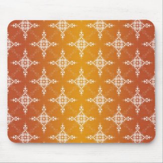 Illuminated Orange and Yellow Gold Damask Mouse Pad