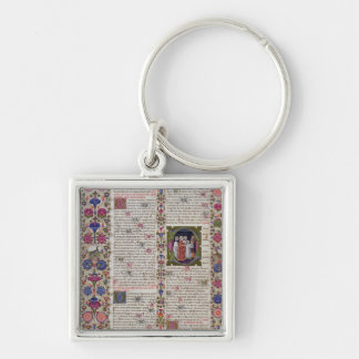 Illuminated page from the Book of Psalms Silver-Colored Square Keychain