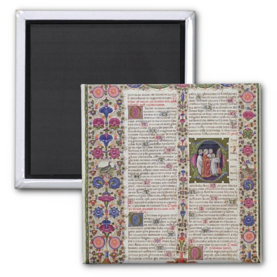 Illuminated page from the Book of Psalms Magnet