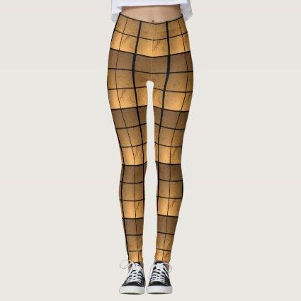 Illuminated Pattern Golden Copper Squares Leggings