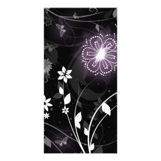 Illuminated Purple butterflies and flowers design Card