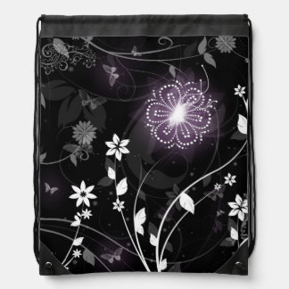 Illuminated Purple butterflies and flowers design Drawstring Bag