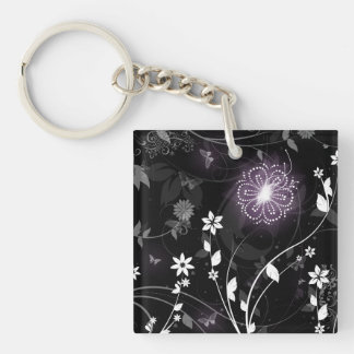 Illuminated Purple butterflies and flowers design Keychain