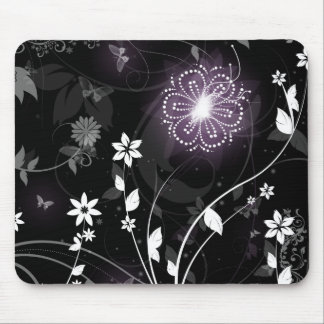 Illuminated Purple butterflies and flowers design Mouse Pad