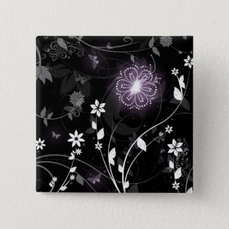 Illuminated Purple butterflies and flowers design Pinback Button