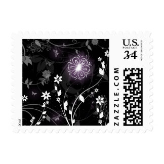 Illuminated Purple butterflies and flowers design Postage