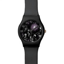 Illuminated Purple butterflies and flowers design Wrist Watch