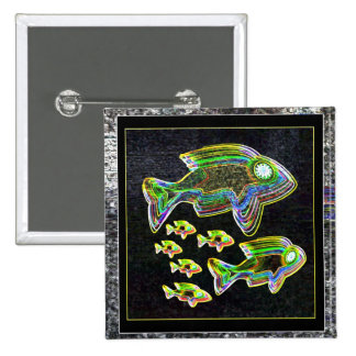 Illuminated Reflection : Fish in Flood Light Pinback Buttons