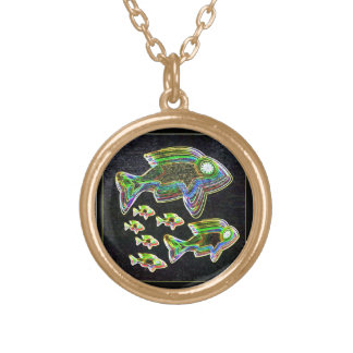 Illuminated Reflection : Fish in Flood Light Gold Plated Necklace