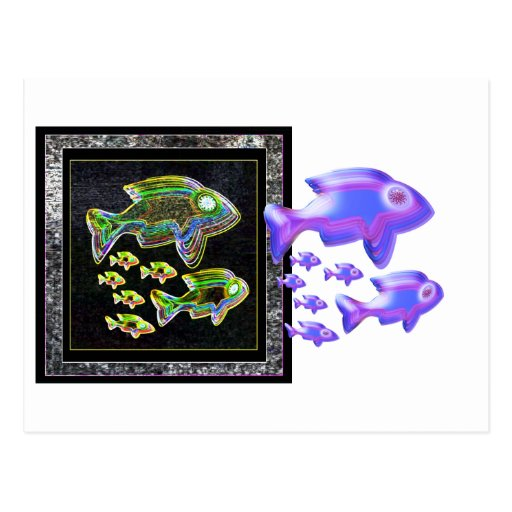 Illuminated reflection fish in flood light postcard zazzle for 13 fishing a3