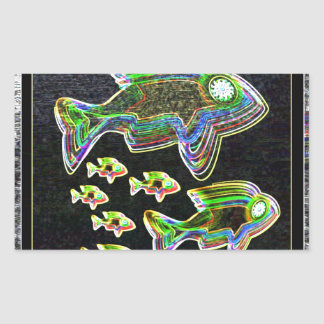 Illuminated Reflection : Fish in Flood Light Rectangular Sticker