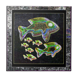 Illuminated Reflection : Fish in Flood Light Small Square Tile