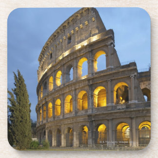 Illuminated section of the Colosseum at dusk. Beverage Coaster