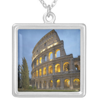 Illuminated section of the Colosseum at dusk. Silver Plated Necklace