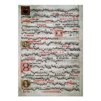 ILLUMINATED SHEET MUSIC c. 1490 Poster