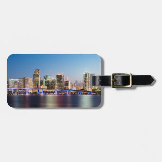 Illuminated skyline of downtown Miami at dusk Bag Tag