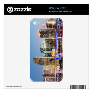 Illuminated skyline of downtown Miami at dusk Decals For The iPhone 4