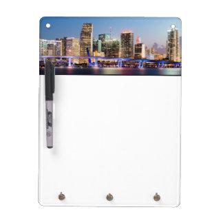 Illuminated skyline of downtown Miami at dusk Dry-Erase Board