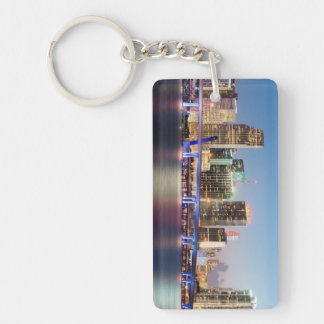 Illuminated skyline of downtown Miami at dusk Keychain