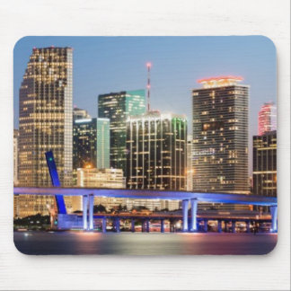 Illuminated skyline of downtown Miami at dusk Mouse Pad