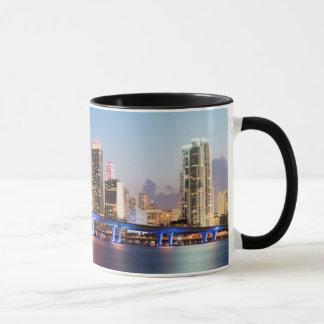 Illuminated skyline of downtown Miami at dusk Mug