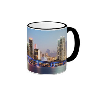 Illuminated skyline of downtown Miami at dusk Ringer Coffee Mug