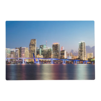 Illuminated skyline of downtown Miami at dusk Placemat