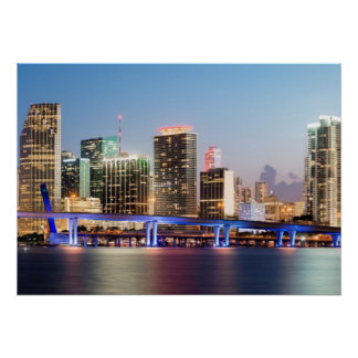 Illuminated skyline of downtown Miami at dusk Poster