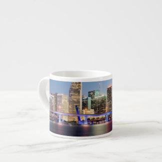 Illuminated skyline of downtown Miami at dusk 6 Oz Ceramic Espresso Cup